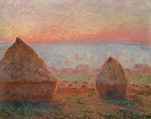 Haystacks at Giverny the evening sun